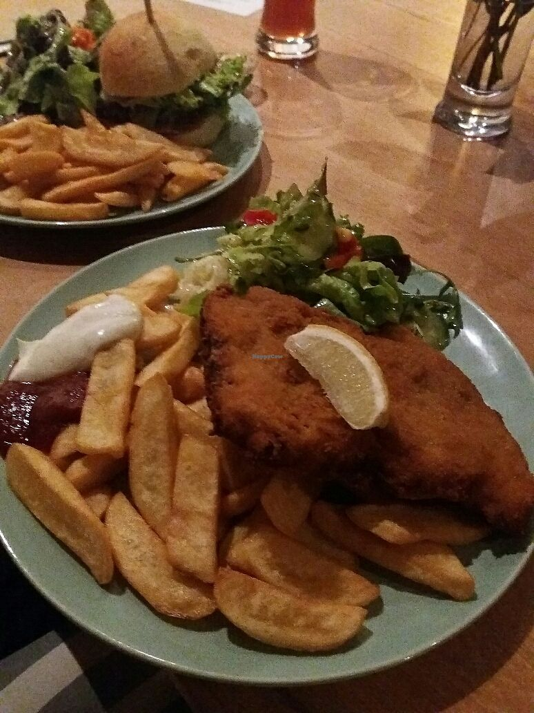"Photo of Cafe Rost  by <a href=""/members/profile/Giniimaus"">Giniimaus</a> <br/>Vegan schnitzel with fries  <br/> October 15, 2017  - <a href='/contact/abuse/image/58538/315592'>Report</a>"