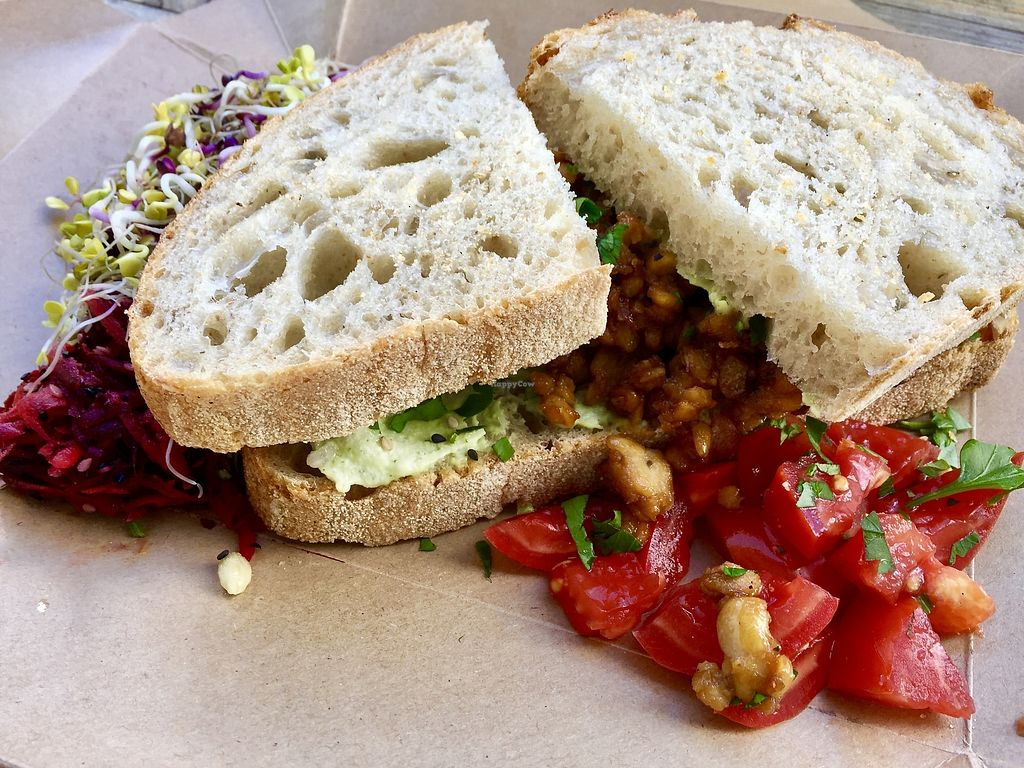 """Photo of No58 Speiserei  by <a href=""""/members/profile/burgerabroad"""">burgerabroad</a> <br/>tempeh sandwich  <br/> October 18, 2017  - <a href='/contact/abuse/image/58550/316387'>Report</a>"""