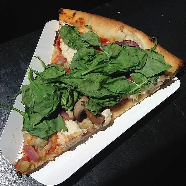 "Photo of Apiecalypse Now Pizza and Snack Bar  by <a href=""/members/profile/vagabondvegan"" class=""title__title"">vagabondvegan</a> <br/>'Reunion Tour' - local organic tomato sauce, marinated mushrooms, garlic artichokes, red onions, cherry tomatoes, baby spinach and cashew ricotta cheese <br/> July 6, 2017  - <a href='/contact/abuse/image/58573/277046'>Report</a>"