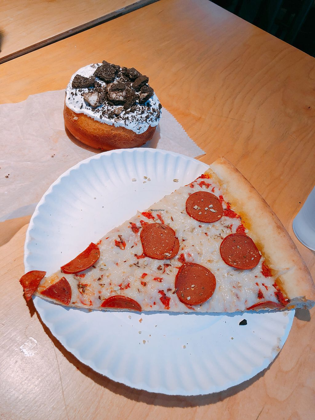 "Photo of Apiecalypse Now Pizza and Snack Bar  by <a href=""/members/profile/janitajasmin"">janitajasmin</a> <br/>""Pepperoni"" pizza and a cookies n cream donut <br/> March 13, 2018  - <a href='/contact/abuse/image/58573/370135'>Report</a>"