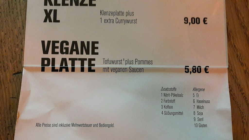 """Photo of Gute Nacht Wurst  by <a href=""""/members/profile/LoisMM"""">LoisMM</a> <br/>vegan option  <br/> September 10, 2017  - <a href='/contact/abuse/image/58580/302961'>Report</a>"""