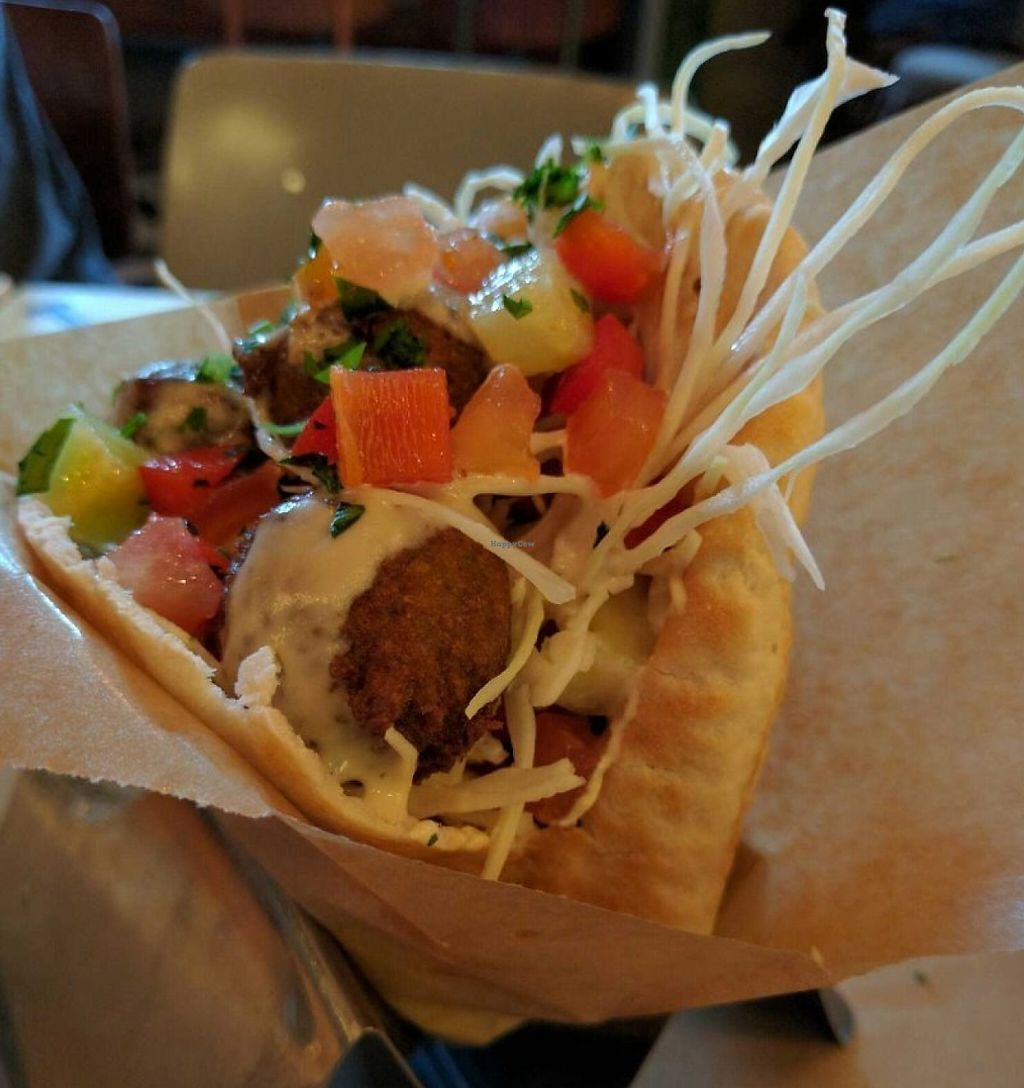 """Photo of FLFL Falafel and Hummus - Levantine Kitchen  by <a href=""""/members/profile/Sonja%20and%20Dirk"""">Sonja and Dirk</a> <br/>falafel pita <br/> July 27, 2016  - <a href='/contact/abuse/image/58583/245946'>Report</a>"""