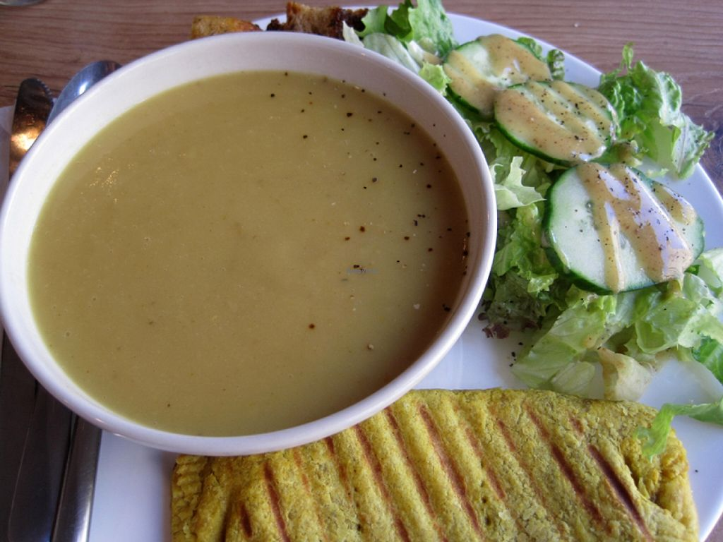 """Photo of Café Tuyo  by <a href=""""/members/profile/Babette"""">Babette</a> <br/>The soup of the day (cauliflower) was pretty tasty, but I preferred the Jamaican patty, filled with carrots and yumminess. The side salad was simple but good <br/> May 7, 2016  - <a href='/contact/abuse/image/58596/147965'>Report</a>"""