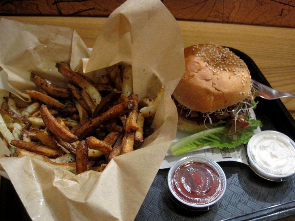 """Photo of Copper Branch - Rene Levesque  by <a href=""""/members/profile/Babette"""">Babette</a> <br/>OVEN-BAKED FRIES. Golden potatoes, lemon juice, olive oil, sea salt, signature spices.  I really like the fries, but sometimes they are a little dry.  Burger  Vegan Mayo and ketchup <br/> January 7, 2016  - <a href='/contact/abuse/image/58602/131425'>Report</a>"""