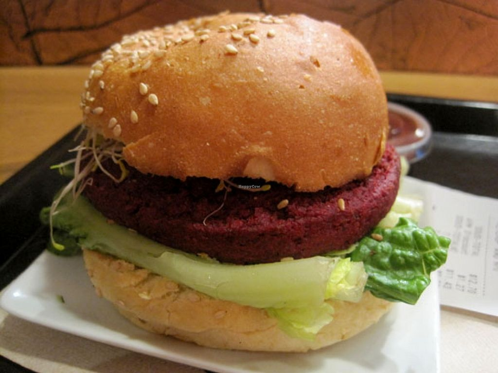 """Photo of Copper Branch - Rene Levesque  by <a href=""""/members/profile/Babette"""">Babette</a> <br/>COPPER BURGER. Beet, lentils, organic brown rice, maple syrup, Dijon vegenaise, organic miso, caramelized onions, alfalfa sprouts, lettuce.  This burger is pretty good <br/> January 7, 2016  - <a href='/contact/abuse/image/58602/131426'>Report</a>"""