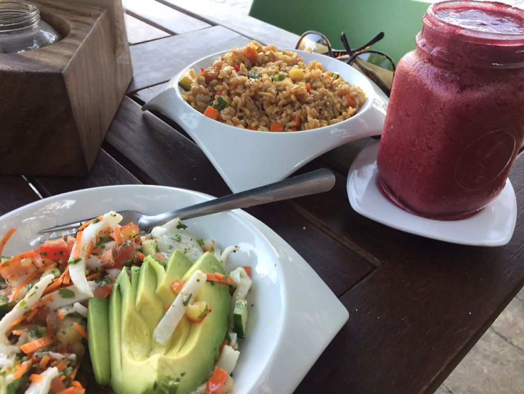 "Photo of Playa Detox  by <a href=""/members/profile/DinaBird"">DinaBird</a> <br/>coconut ceviche, brown rice stir fry, banana berry mint smoothie  <br/> April 21, 2017  - <a href='/contact/abuse/image/58604/250637'>Report</a>"
