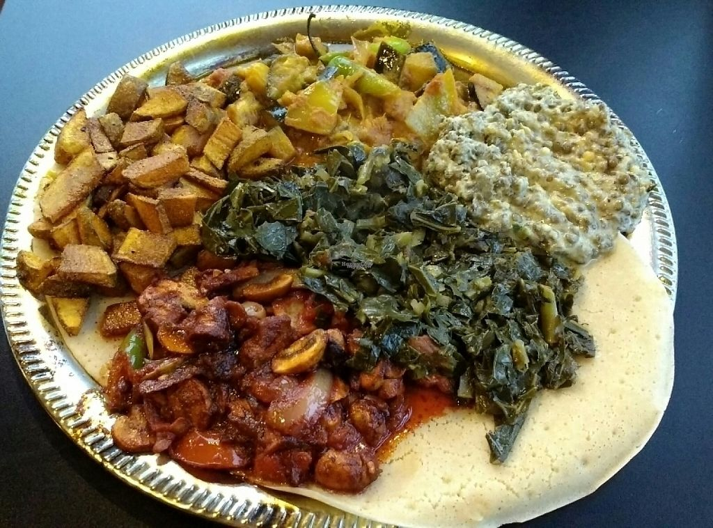 """Photo of CLOSED: Ethiopian International Cafe  by <a href=""""/members/profile/VeganSquid"""">VeganSquid</a> <br/>Vegan Family Style Platter  <br/> February 25, 2017  - <a href='/contact/abuse/image/58606/230134'>Report</a>"""