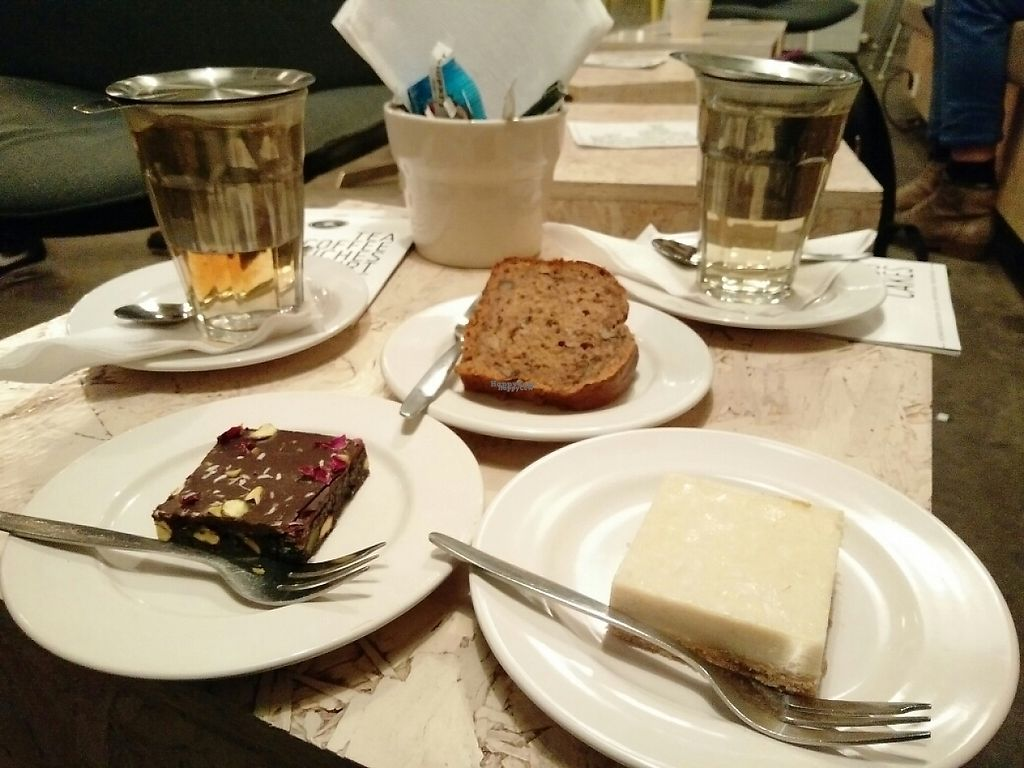 """Photo of The Tea Lab  by <a href=""""/members/profile/martinicontomate"""">martinicontomate</a> <br/>vegan cakes: brownie with rose (raw), lemon cake (raw) and bananabread <br/> December 8, 2016  - <a href='/contact/abuse/image/58620/198407'>Report</a>"""