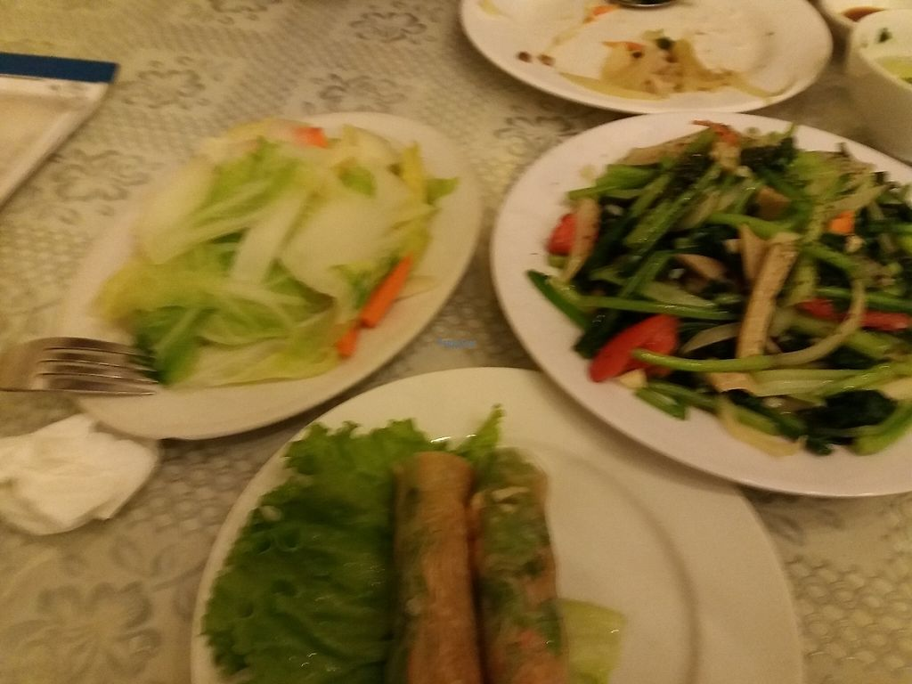 """Photo of Loving Hut - Chua Lang  by <a href=""""/members/profile/veganvirtues"""">veganvirtues</a> <br/>Summer rolls, fresh vegetables and fried noodles <br/> December 22, 2016  - <a href='/contact/abuse/image/58621/203946'>Report</a>"""