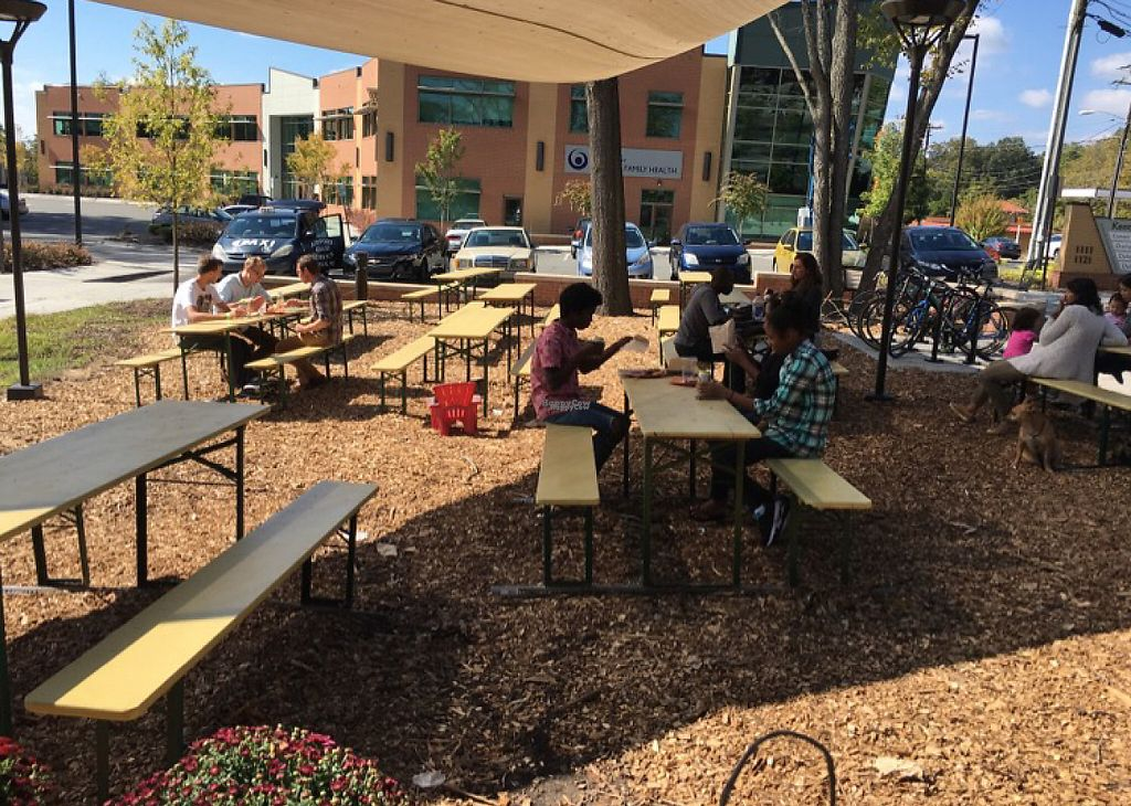 """Photo of Durham Co-op Market  by <a href=""""/members/profile/stephen%2Bmusgrave"""">stephen+musgrave</a> <br/>Plenty of outdoor (and indoor) seating.  <br/> October 16, 2016  - <a href='/contact/abuse/image/58642/214502'>Report</a>"""