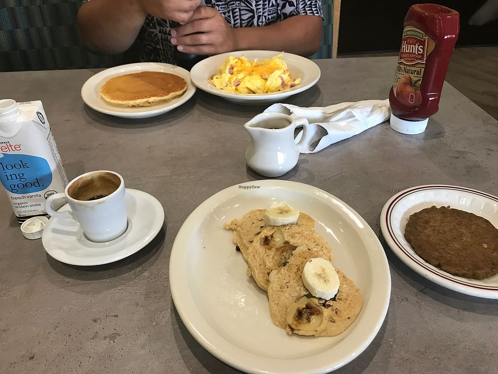 "Photo of Hot Stacks Pancake House  by <a href=""/members/profile/ShaiNoel"">ShaiNoel</a> <br/>espresso, vegan pancakes, vegan sausage, and hubby's food <br/> August 18, 2017  - <a href='/contact/abuse/image/58656/294016'>Report</a>"