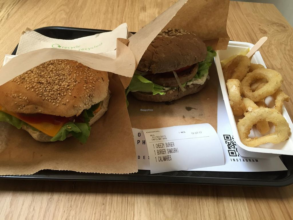 "Photo of Loving Hut Veganerie  by <a href=""/members/profile/strawberrydoll"">strawberrydoll</a> <br/>The 'cheezy' burger, 'samourai' burger and vegan calamares (fried 'squid') <br/> June 10, 2015  - <a href='/contact/abuse/image/58660/105297'>Report</a>"