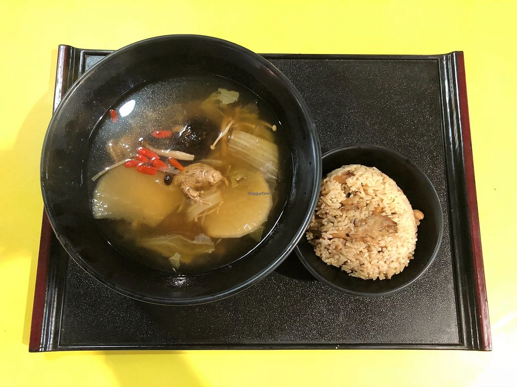 """Photo of Jeun VirtueFarm - temporarily closed  by <a href=""""/members/profile/CherylQuincy"""">CherylQuincy</a> <br/>Assorted mushrooms, peppercorns, cabbage and radish soup with Mushroom rice <br/> February 9, 2018  - <a href='/contact/abuse/image/58708/356951'>Report</a>"""