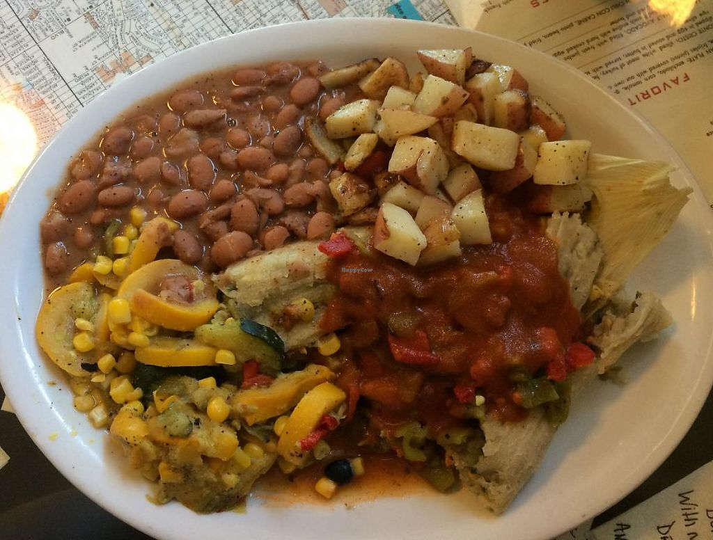 "Photo of Tia Betty Blue's  by <a href=""/members/profile/ASomerville"">ASomerville</a> <br/>Vegan tamales, with red and green chile. Served with beans, grilled potatoes, and calabacitas <br/> June 14, 2015  - <a href='/contact/abuse/image/58714/209175'>Report</a>"