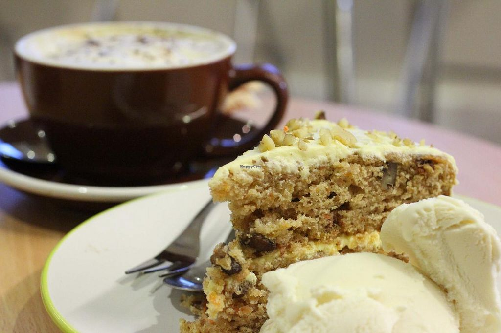 """Photo of Loving Hut Cafe - St Peter's Place  by <a href=""""/members/profile/Loving%20Hut%20The%20Level"""">Loving Hut The Level</a> <br/>Carrot Cake & Cappuccino <br/> May 23, 2015  - <a href='/contact/abuse/image/58717/103177'>Report</a>"""