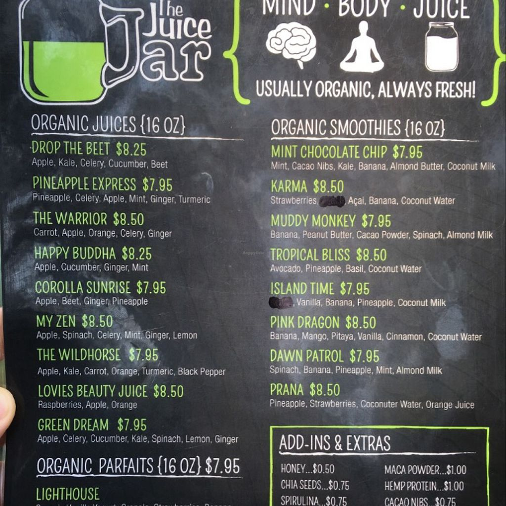 """Photo of The Juice Jar  by <a href=""""/members/profile/Simikian"""">Simikian</a> <br/>menu side one <br/> July 28, 2016  - <a href='/contact/abuse/image/58728/162997'>Report</a>"""