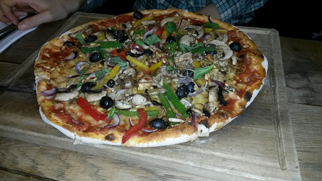 """Photo of The Herb Garden  by <a href=""""/members/profile/deadpledge"""">deadpledge</a> <br/>VEGAN PIZZA - TOMATO, PEPPERS, RED ONION, MUSHROOMS, OLIVES, BASIL, OREGANO, PINE NUTS <br/> February 14, 2016  - <a href='/contact/abuse/image/58773/136239'>Report</a>"""
