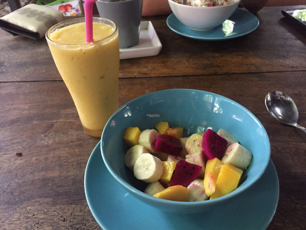 """Photo of CLOSED: Bodhi Tree Cafe  by <a href=""""/members/profile/lolacooks"""">lolacooks</a> <br/>fruit and smoothie <br/> August 16, 2016  - <a href='/contact/abuse/image/58775/169161'>Report</a>"""