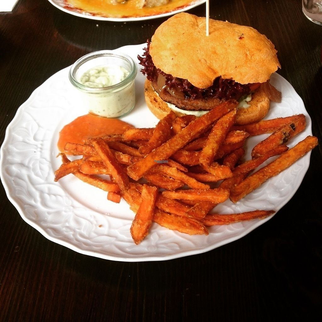 """Photo of GreenSoul  by <a href=""""/members/profile/o0Carolyn0o"""">o0Carolyn0o</a> <br/>Mediterranean burger with sweet potato fries and basil aioli <br/> November 21, 2016  - <a href='/contact/abuse/image/58779/192952'>Report</a>"""