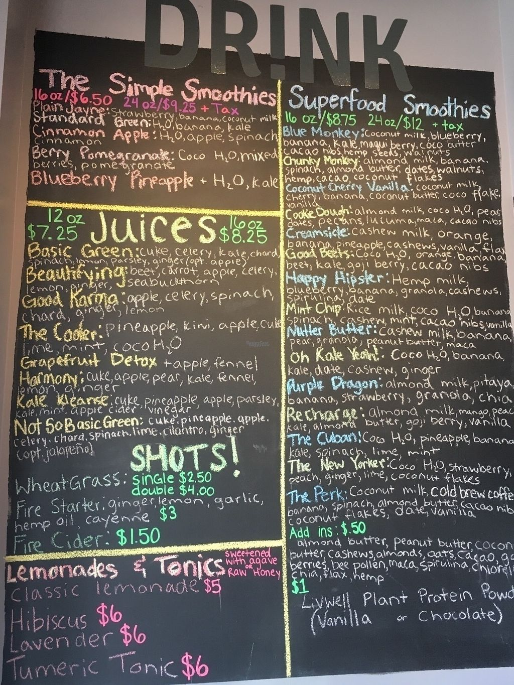 """Photo of The Herd Juicery  by <a href=""""/members/profile/Isamara"""">Isamara</a> <br/>Menu <br/> September 11, 2016  - <a href='/contact/abuse/image/58788/175087'>Report</a>"""