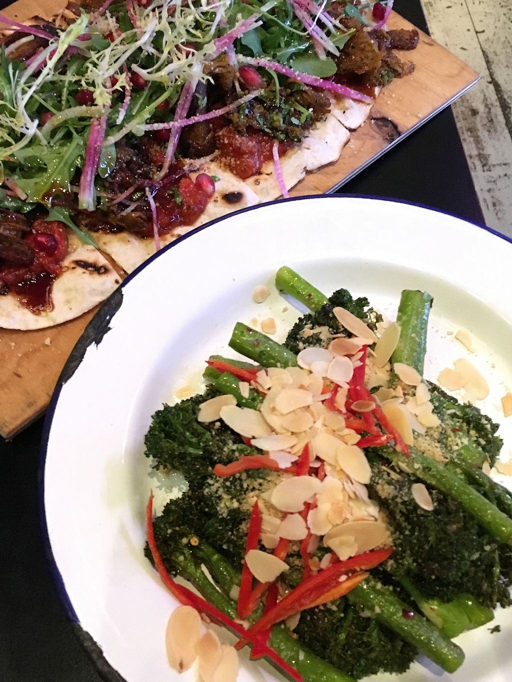 """Photo of The Cock  by <a href=""""/members/profile/SeitanSeitanSeitan"""">SeitanSeitanSeitan</a> <br/>Broccolini and flatbread with veef.  <br/> January 6, 2018  - <a href='/contact/abuse/image/58801/343597'>Report</a>"""