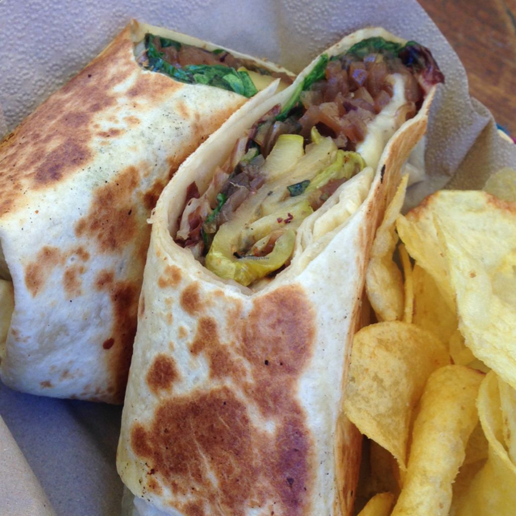 """Photo of Juuls Kitchen  by <a href=""""/members/profile/MichaelaSojak"""">MichaelaSojak</a> <br/>Vegetarian wrap with cheese, mushroom, spinach, onion and zucchini <br/> August 1, 2015  - <a href='/contact/abuse/image/58813/111772'>Report</a>"""