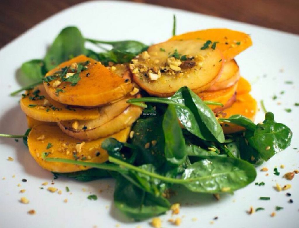 """Photo of Juuls Kitchen  by <a href=""""/members/profile/Vegangypsy"""">Vegangypsy</a> <br/>Pumpkin, spinach and apple salad <br/> July 16, 2016  - <a href='/contact/abuse/image/58813/239093'>Report</a>"""