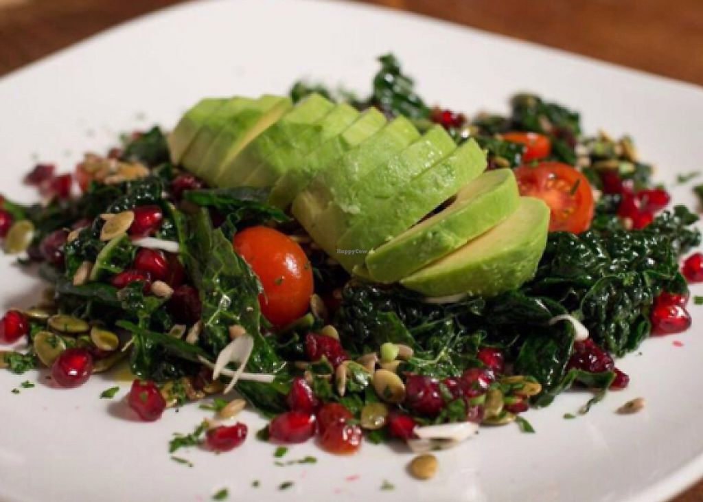 """Photo of Juuls Kitchen  by <a href=""""/members/profile/Vegangypsy"""">Vegangypsy</a> <br/>Raw kale and avocado salad <br/> July 16, 2016  - <a href='/contact/abuse/image/58813/239094'>Report</a>"""