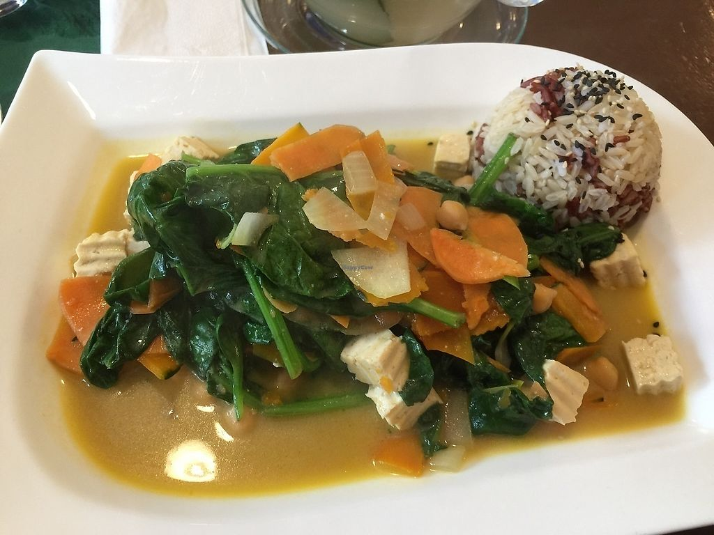 "Photo of Velvet Leaf  by <a href=""/members/profile/Cassidy13K"">Cassidy13K</a> <br/>Delicious, cheap and super healthy spinach dish with a side of mixed kinds of rice and tasty tea <br/> November 14, 2017  - <a href='/contact/abuse/image/58841/325628'>Report</a>"