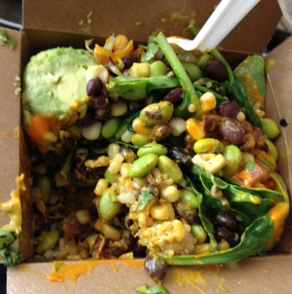 "Photo of grabbagreen - North  by <a href=""/members/profile/Tigra220"">Tigra220</a> <br/>Quinoa, brown rice, raw spinach, edamame, corn, black beans, red onion & avocado w/ Spicy Almond dressing <br/> May 28, 2015  - <a href='/contact/abuse/image/58873/103825'>Report</a>"