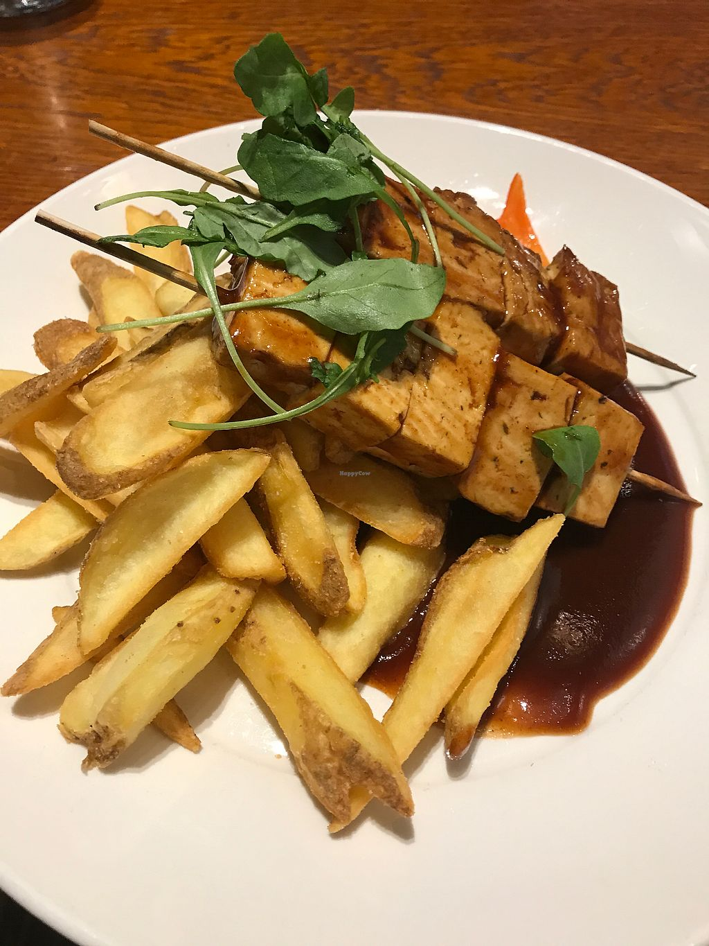 """Photo of Chico's - Sello  by <a href=""""/members/profile/RoosaHahkala"""">RoosaHahkala</a> <br/>Tofu rotisserie with bbq-sauce and fries <br/> August 3, 2017  - <a href='/contact/abuse/image/58902/288165'>Report</a>"""