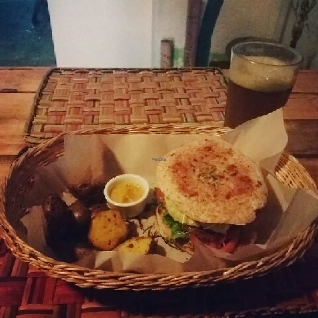 """Photo of El Jardin de Jazmin  by <a href=""""/members/profile/alessa182"""">alessa182</a> <br/>Lentil burguer with avocado, vegan cheese and yellow potatoes on a side ?  <br/> April 30, 2017  - <a href='/contact/abuse/image/58946/254013'>Report</a>"""