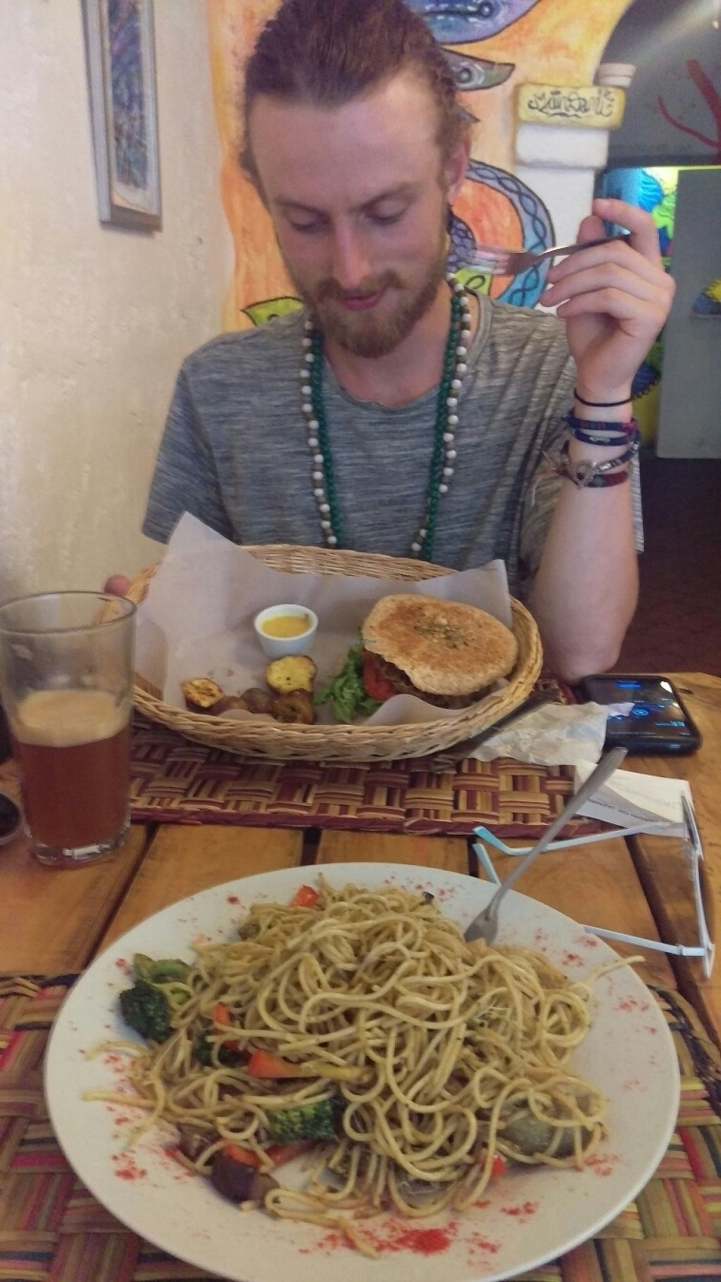 """Photo of El Jardin de Jazmin  by <a href=""""/members/profile/dustydope"""">dustydope</a> <br/>burger and pasta <br/> May 13, 2017  - <a href='/contact/abuse/image/58946/258488'>Report</a>"""