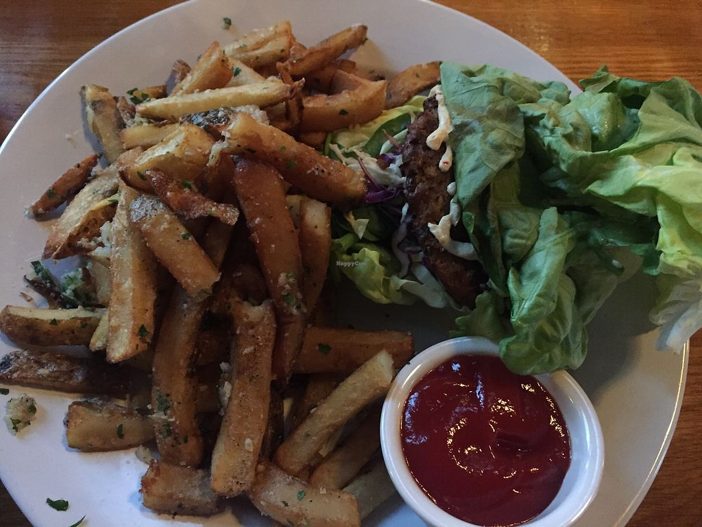 """Photo of The Federal Bar  by <a href=""""/members/profile/Veganbloke"""">Veganbloke</a> <br/>Vegan burger (wrapped in lettuce as bun not vegan) and fries <br/> July 10, 2017  - <a href='/contact/abuse/image/58953/278513'>Report</a>"""