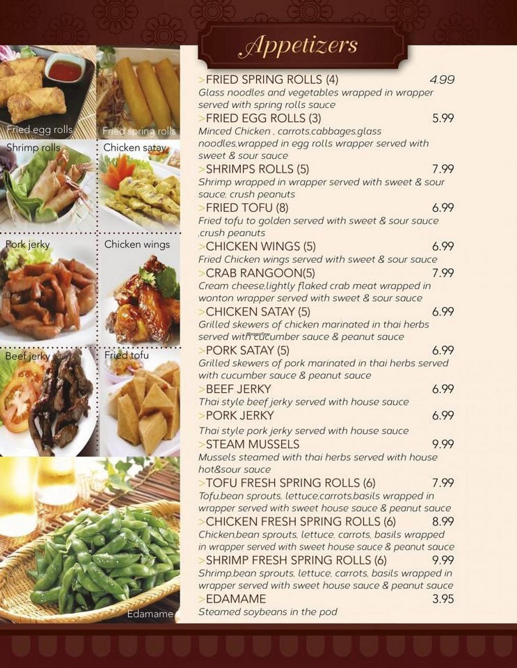 """Photo of REMOVED: Chiangmai Thai Kitchen  by <a href=""""/members/profile/JeedSripakdee"""">JeedSripakdee</a> <br/>Appetizers menu  <br/> June 1, 2015  - <a href='/contact/abuse/image/58954/104457'>Report</a>"""