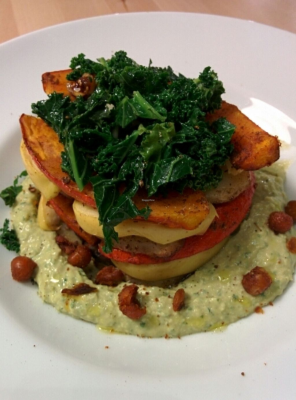 "Photo of Zyzna  by <a href=""/members/profile/DonVego"">DonVego</a> <br/>roasted pumpkin, eggplant, potato and apple on savory hummus with kale and fig salad on top. excellent! <br/> December 18, 2015  - <a href='/contact/abuse/image/58959/128904'>Report</a>"