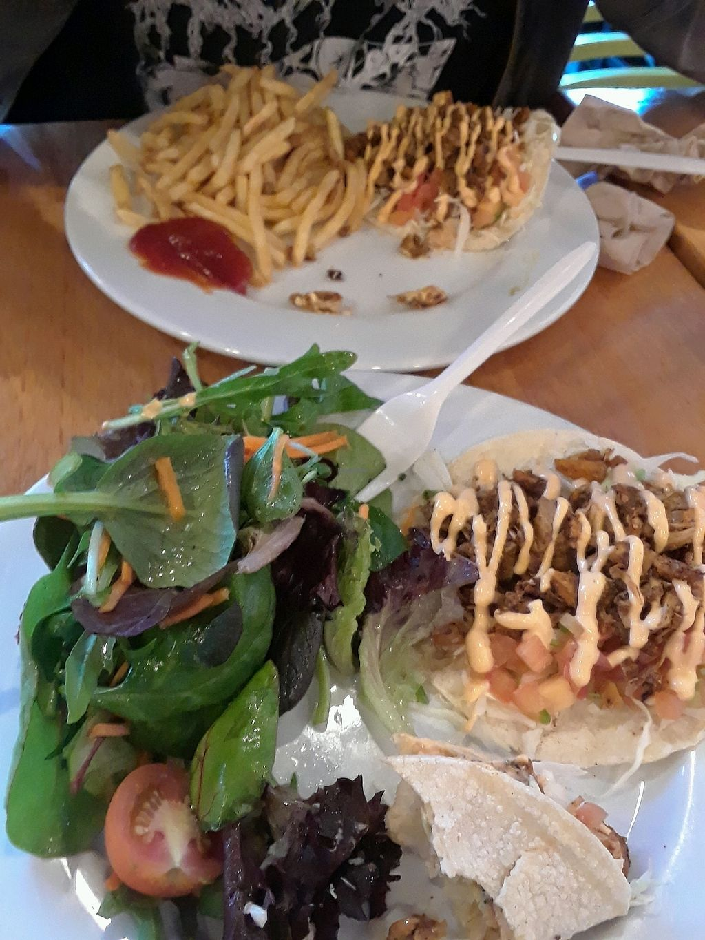 "Photo of One Veg World  by <a href=""/members/profile/OceanaMount"">OceanaMount</a> <br/>Jackfruit taco plates  <br/> October 23, 2017  - <a href='/contact/abuse/image/58963/317911'>Report</a>"
