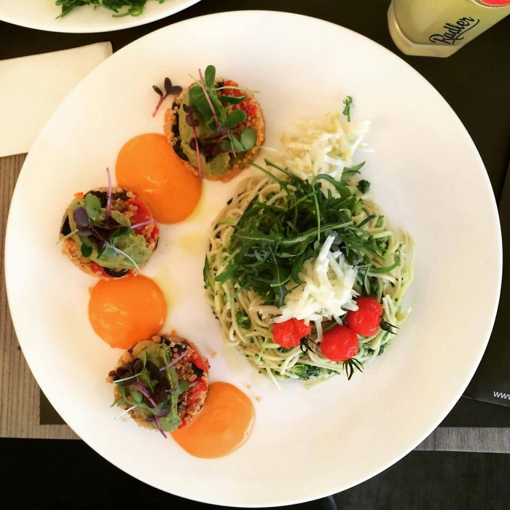"Photo of Moio Beach  by <a href=""/members/profile/Rezaline"">Rezaline</a> <br/>Pasta with broccoli and quinoa with sundries tomatoes and olives, topped with zucchini spread.  <br/> September 27, 2015  - <a href='/contact/abuse/image/58969/119399'>Report</a>"