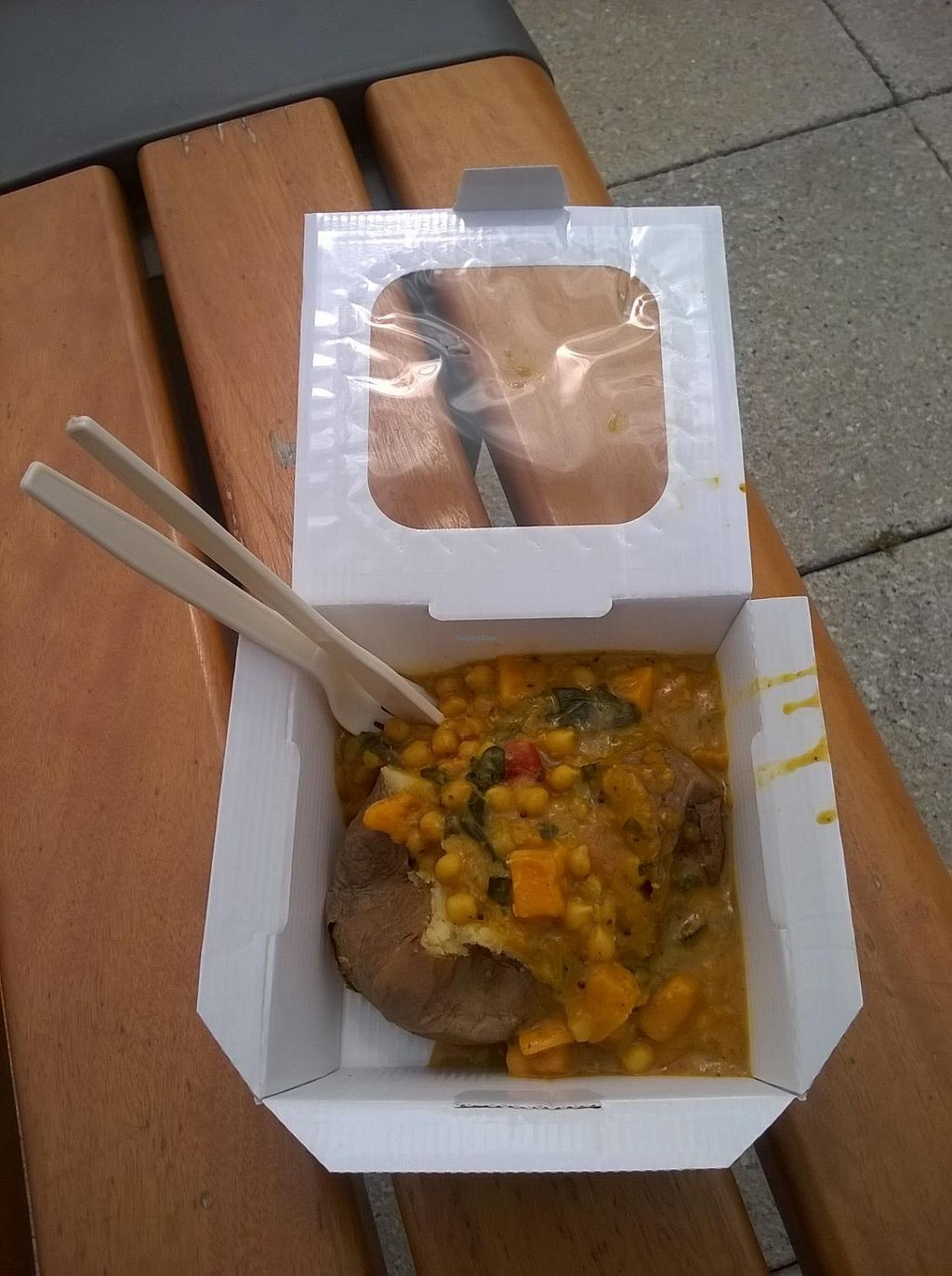"""Photo of Spud and Lettuce  by <a href=""""/members/profile/deadpledge"""">deadpledge</a> <br/>Jacket Potato with Spinach, Chick Pea and Sweet Potato Curry <br/> July 10, 2015  - <a href='/contact/abuse/image/58988/108771'>Report</a>"""
