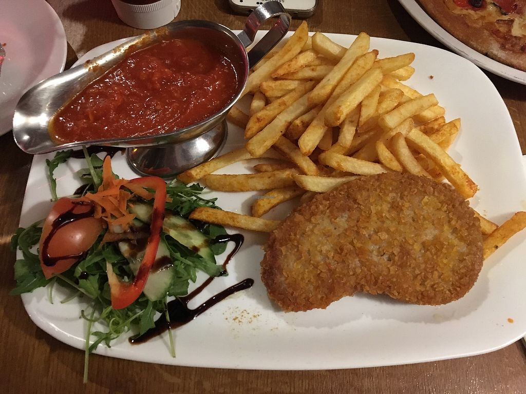 """Photo of Debakel  by <a href=""""/members/profile/monisonfire"""">monisonfire</a> <br/>vegan schnitzel + fries + sauce <br/> February 5, 2018  - <a href='/contact/abuse/image/58994/355327'>Report</a>"""