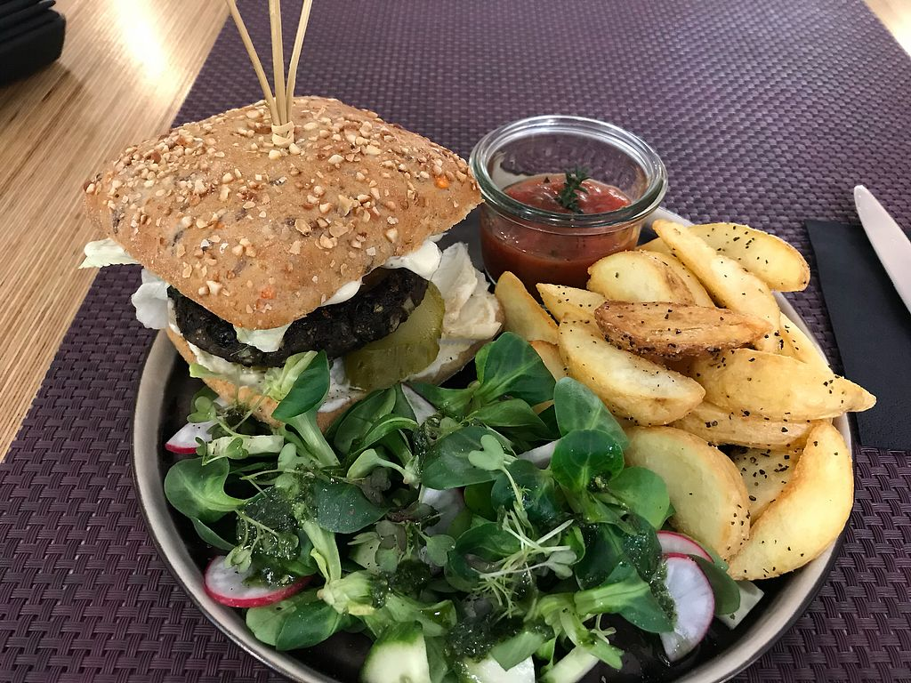 "Photo of Bhajan Cafe  by <a href=""/members/profile/MarvinS"">MarvinS</a> <br/>Bean burger <br/> February 20, 2018  - <a href='/contact/abuse/image/59000/361656'>Report</a>"