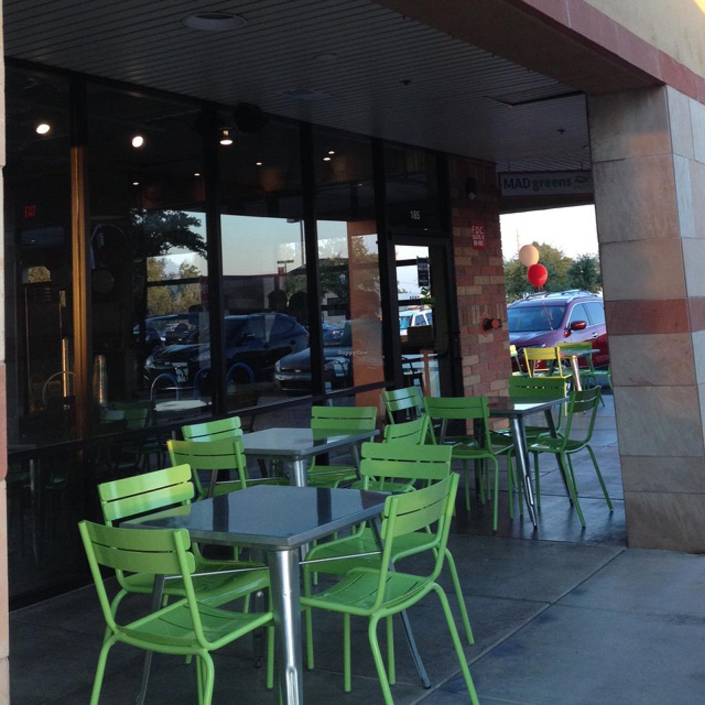 """Photo of MAD Greens  by <a href=""""/members/profile/Tigra220"""">Tigra220</a> <br/>outside eating area on both sides of the building <br/> June 23, 2015  - <a href='/contact/abuse/image/59006/107145'>Report</a>"""