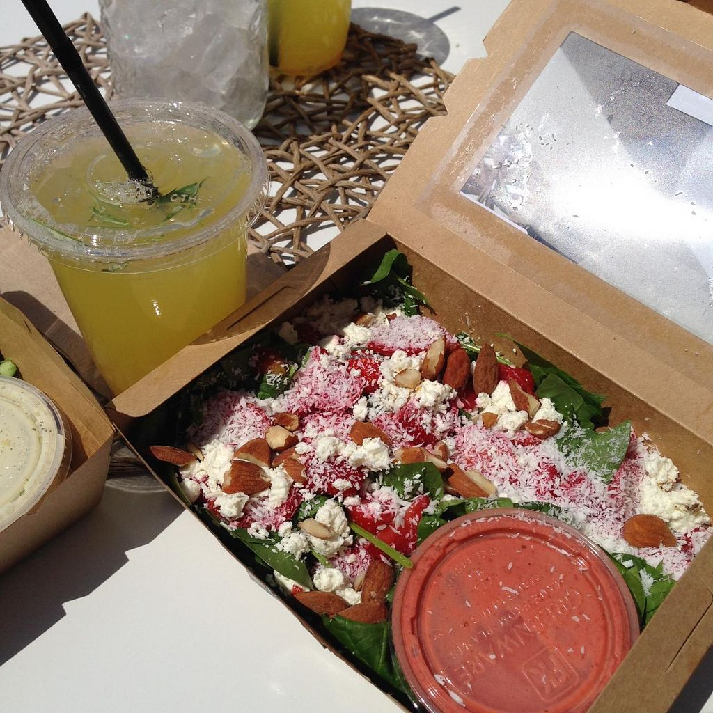 "Photo of CLOSED: VIDA  by <a href=""/members/profile/veganxsophie"">veganxsophie</a> <br/>vegetarian 'Strawberrie field salad' + pineapple-rosemary lemonade <br/> June 17, 2015  - <a href='/contact/abuse/image/59025/106245'>Report</a>"
