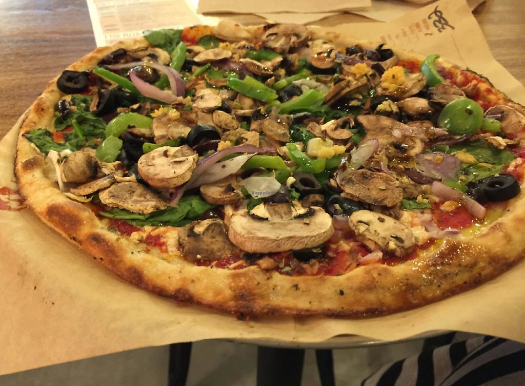 """Photo of Blaze Pizza  by <a href=""""/members/profile/LoveTWD"""">LoveTWD</a> <br/>Yummy Vegan Pizza Made to Order <br/> June 3, 2015  - <a href='/contact/abuse/image/59036/200897'>Report</a>"""