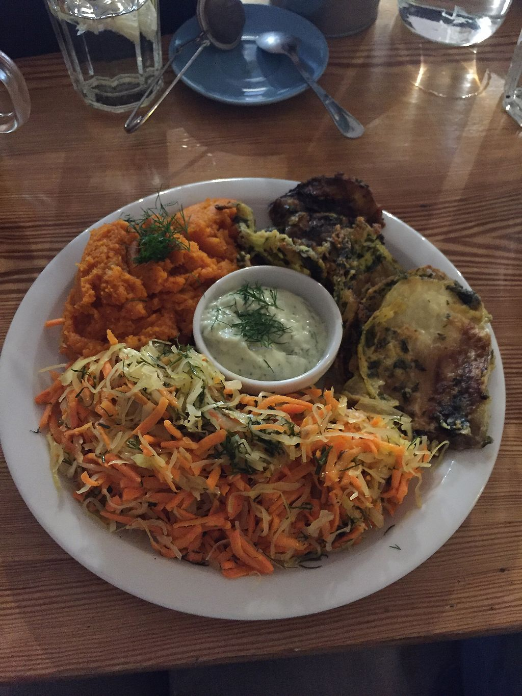 """Photo of Korzenie   by <a href=""""/members/profile/farucha"""">farucha</a> <br/>Aubergine Fritters with carrot mash and dill mayo <br/> September 2, 2017  - <a href='/contact/abuse/image/59043/299975'>Report</a>"""