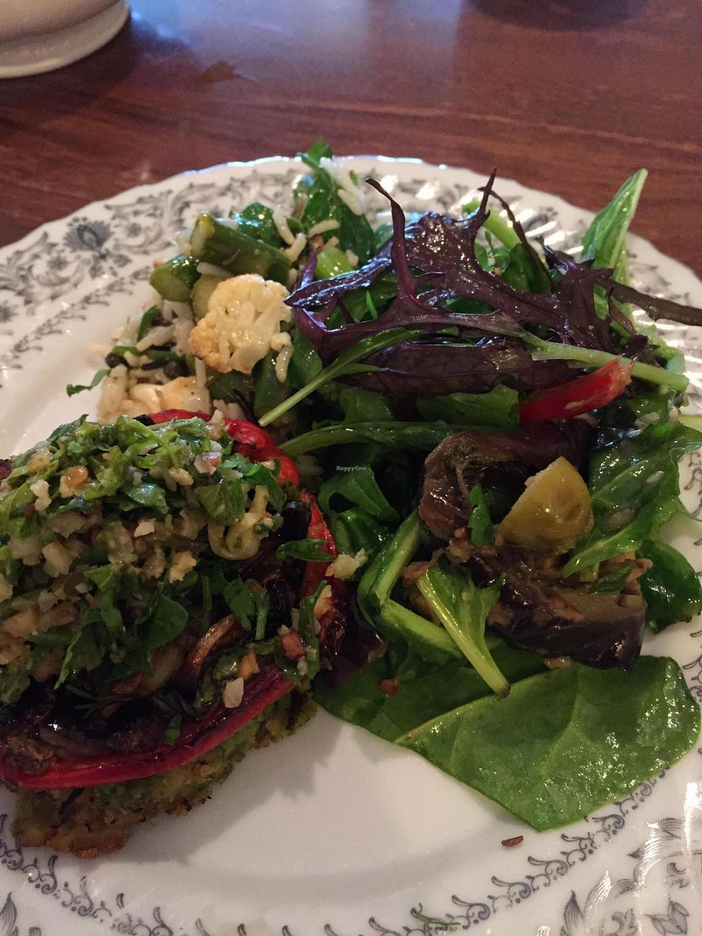 """Photo of Skye Pie Cafe  by <a href=""""/members/profile/Raqui"""">Raqui</a> <br/>Vegan tart with option of side salads. Tart has polenta (cornmeal crust) base and grains and veg on top with lovely light sauce. Salads were greens, grilled eggplant and rice pilaf <br/> June 4, 2015  - <a href='/contact/abuse/image/59044/104746'>Report</a>"""