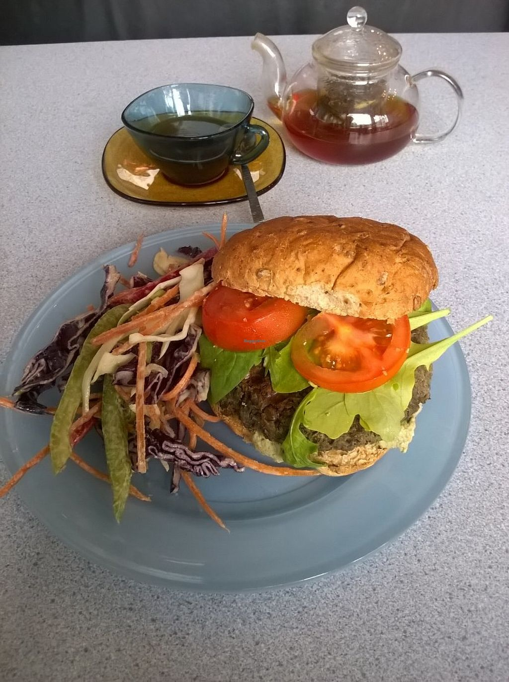 """Photo of Pulp Fiction Future Food and Juice Cafe  by <a href=""""/members/profile/deadpledge"""">deadpledge</a> <br/>Vegan mushroom, lentil and tarragon burger with side slaw <br/> June 16, 2016  - <a href='/contact/abuse/image/59089/154267'>Report</a>"""