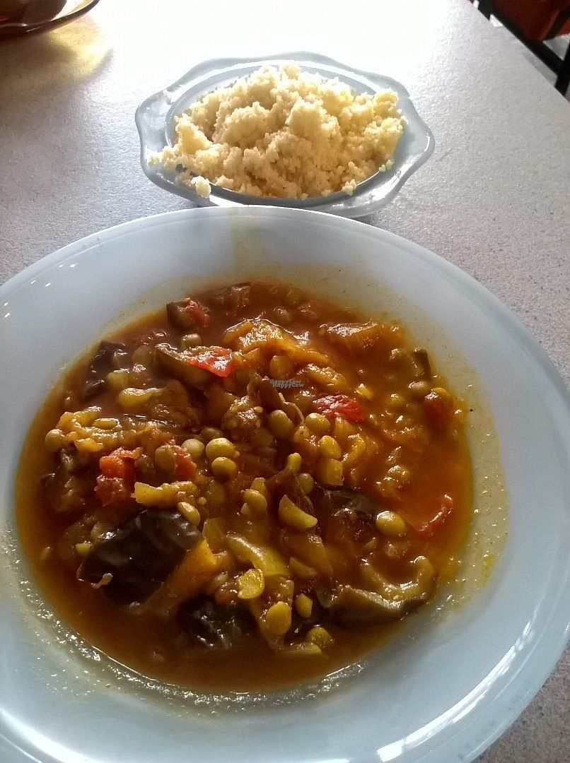 """Photo of Pulp Fiction Future Food and Juice Cafe  by <a href=""""/members/profile/deadpledge"""">deadpledge</a> <br/>Persian aubergine stew and cous cous <br/> August 26, 2016  - <a href='/contact/abuse/image/59089/171512'>Report</a>"""