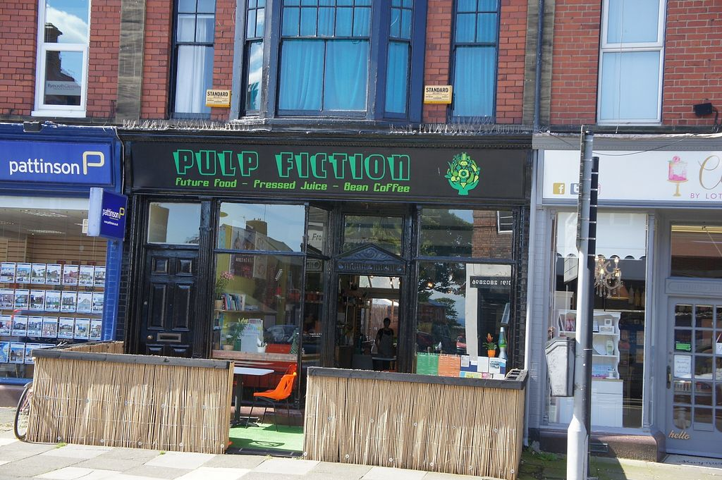"""Photo of Pulp Fiction Future Food and Juice Cafe  by <a href=""""/members/profile/Uwe"""">Uwe</a> <br/>View from the outside <br/> August 27, 2017  - <a href='/contact/abuse/image/59089/297916'>Report</a>"""