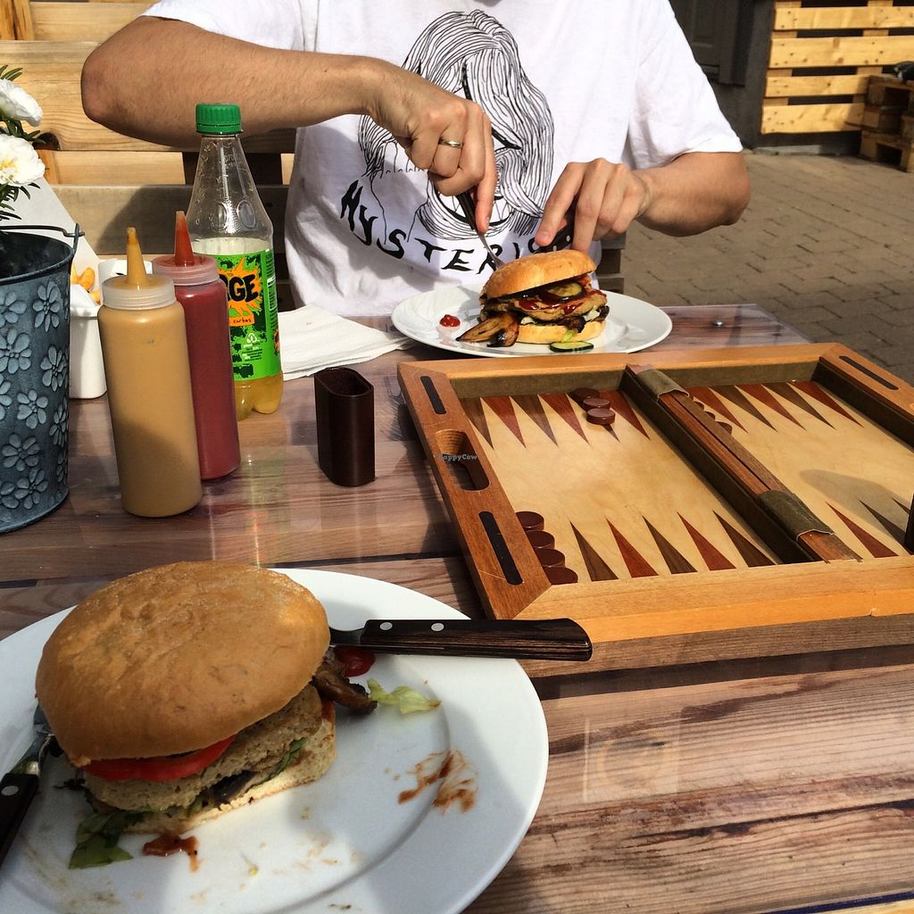 "Photo of Brooklyn Burger Joint  by <a href=""/members/profile/trishfaces"">trishfaces</a> <br/>Veganized BBQ burger with a homemade seitan patty. They have chess and backgammon you can play while you eat! <br/> August 27, 2015  - <a href='/contact/abuse/image/59111/115376'>Report</a>"